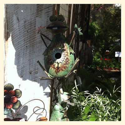 metal frog at Summerville Flowertown Festival