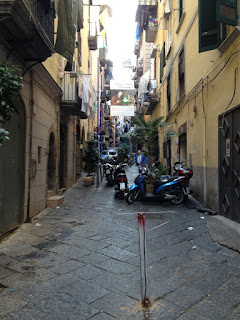 A typical street scene in the Quartieri Spagnoli in the heart of Naples