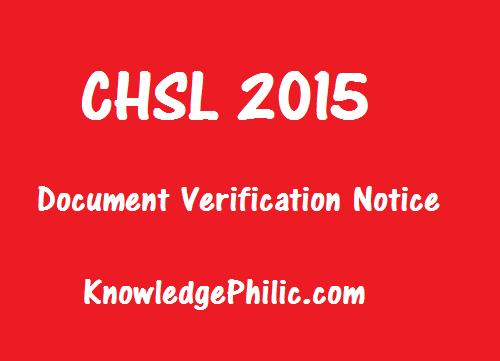 SSC CHSL 2015 Document Verification(DV) Instructions