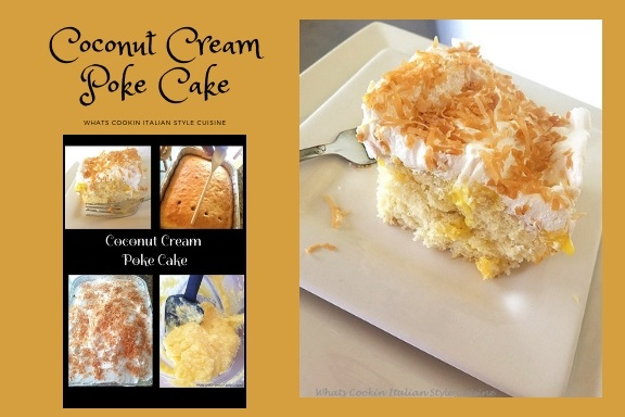 This is a coconut cream poke cake. The cake has holes in it and filled with coconut cream pudding and topped with whipped cream and toasted coconut
