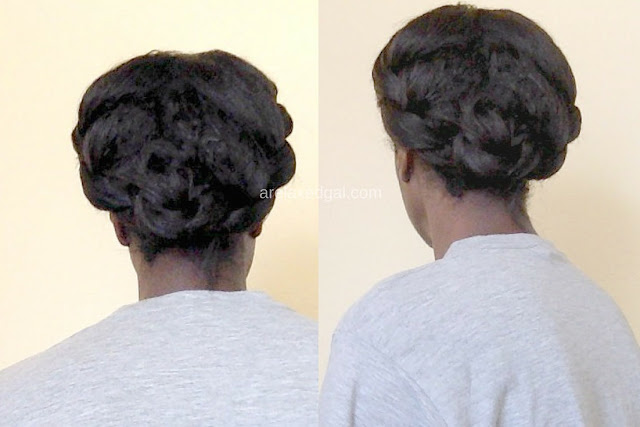 A beautiful braided updo on relaxed hair 10 weeks post relaxer touch up | arelaxedgal.com