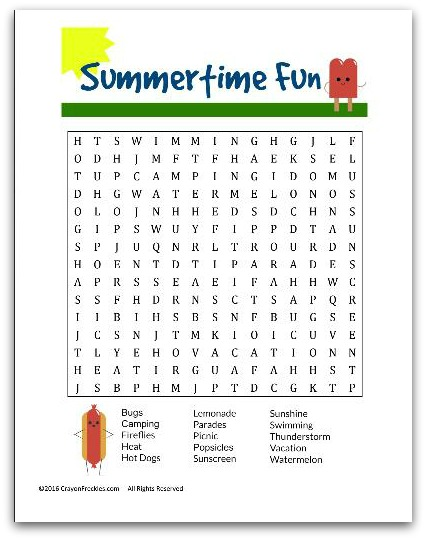 photograph about Summer Word Search Printable named Crayon Freckles: Summertime Enjoyment Phrase Appear totally free printable