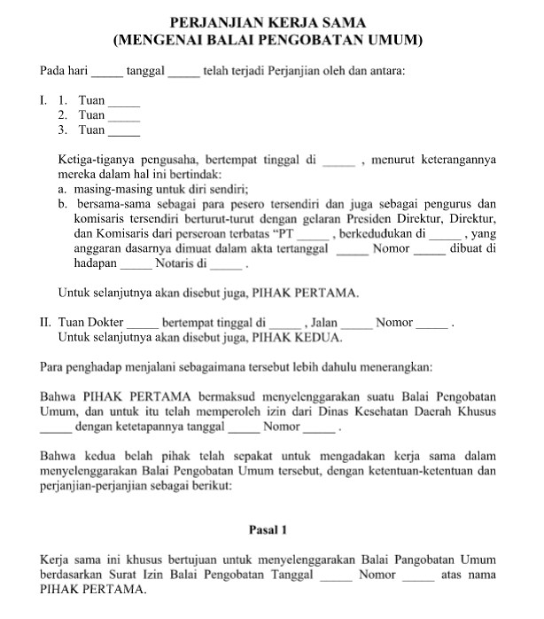 Format Surat Perjanjian Kerjasama Altin Northeastfitness Co