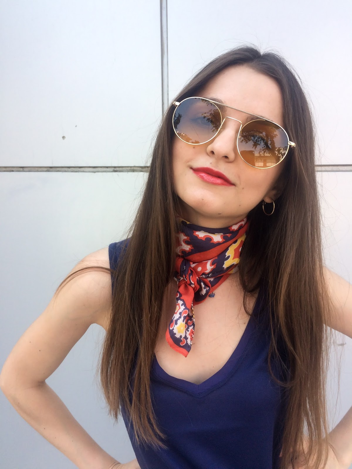 blogger, fashion, denim, top, scarf