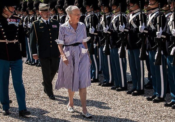 Queen Margrethe attended the Royal Life Guards' Parade at Marselisborg. Marselisborg, is a royal residence of the Danish royal family