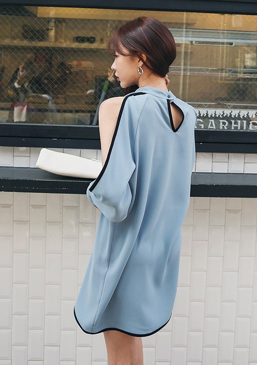 High Neck Split Sleeve Mini Dress