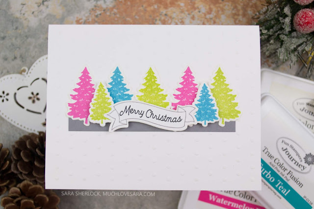 Using a non-traditional color palette, this Christmas card was created with the Fun Stampers Journey Winter Build-A-Scene ATS.