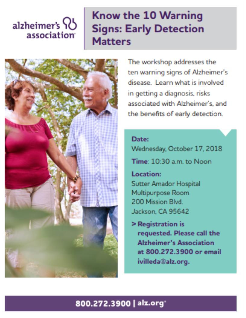 Alzheimer's Association: Know the 10 Signs: Early Detection Matters! Wed Oct 17