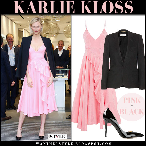 Karlie Kloss in pink ruffled midi dress alex perry and black blazer model elegant style april 12