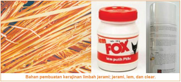 Bahan pembuatan kerajinan limbah jerami; jerami, lem, dan clear.