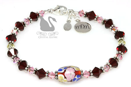 Red Pink Blossoms Floral Artbead Crystal Mom Charm Bracelet (B089)