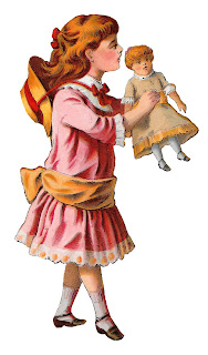 girl victorian doll toy clipart digital download illustration craft supply