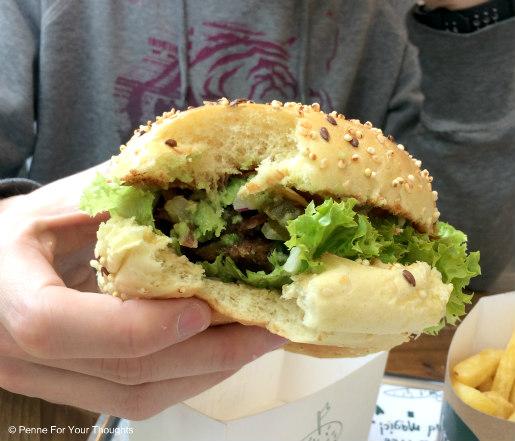 What the Guac Burger at Fressh - vegan cafe Birmingham