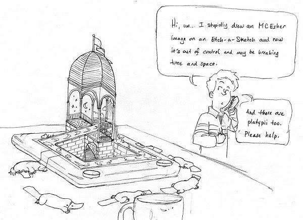 Impossible world site blog: Cartoon with Escher waterfall