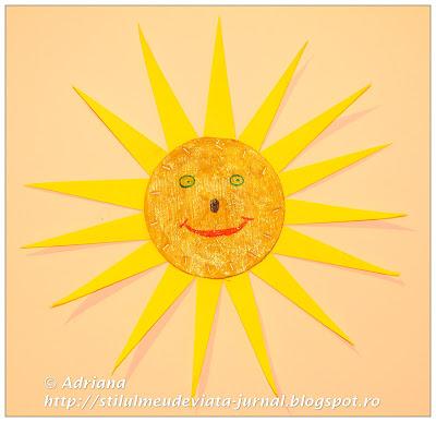 soare, craft pentru copii din carton reciclat