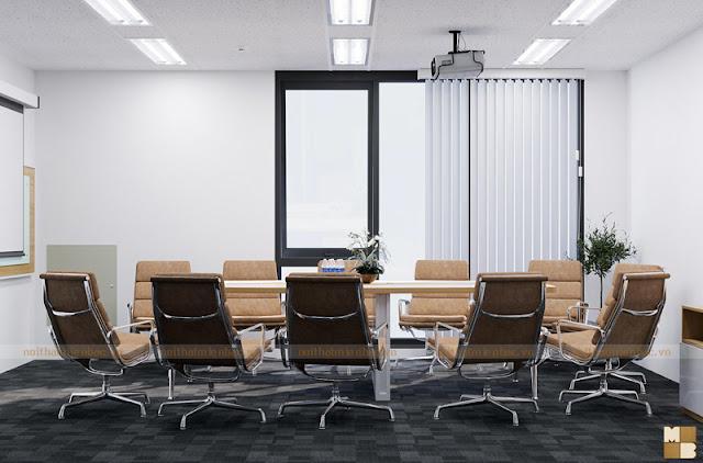 Thiết kế nội thất phòng họp lựa chọn những tone màu sắc phù hợp cũng sẽ tạo cho không gian nét đẹp chuyên nghiệp và sang trọng nhất