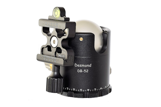 Desmond DB-52 Dual drop notch Ball Head clamp detail