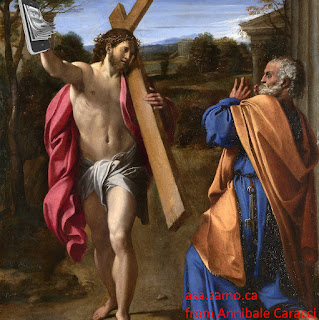 original painting Domine Quo Vadis by Annibale Caracci (1602) modified by asa.zamo.ca by cropping and adding a few dollars in the top left corner, where the hand was