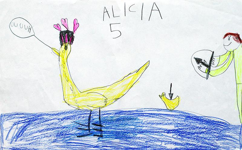 teckna teckning rita lära sig mig dig lär barn skapande utveckling kreativitet i barndomen vuxen vuxna anka and änder jägare jakt död 5-åring 5 år fem femåring
