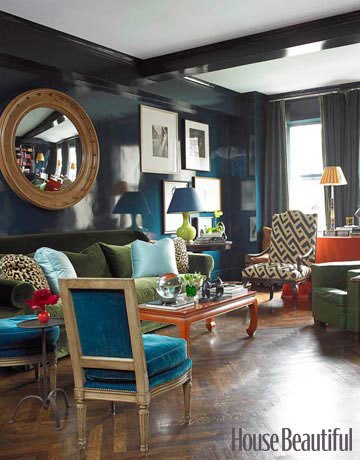 Dark and Moody Living Room. Source: House Beautiful, July 2009