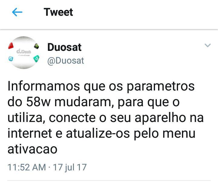ATIVAÇÃO SKS 58W – RECEPTORES DUOSAT – 17/07