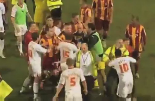 The match between Bradford City and Crawley Town was marred by a massive post-match brawl