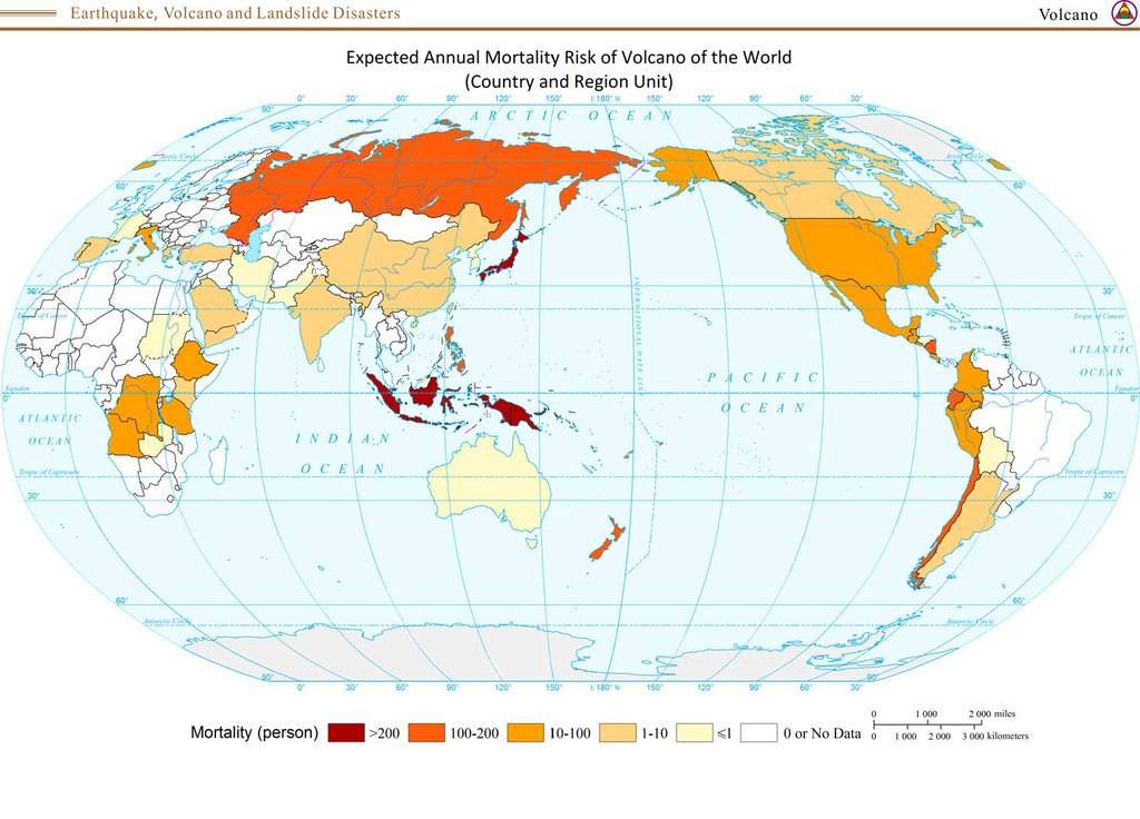Expected annual mortality risk of volcano of the World
