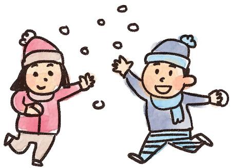 雪合戦のイラスト「雪遊びをしている男の子と女の子」
