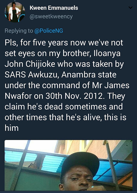 This young man has been missing for 5 years after he was allegedly picked up by SARS while returning from a naming ceremony