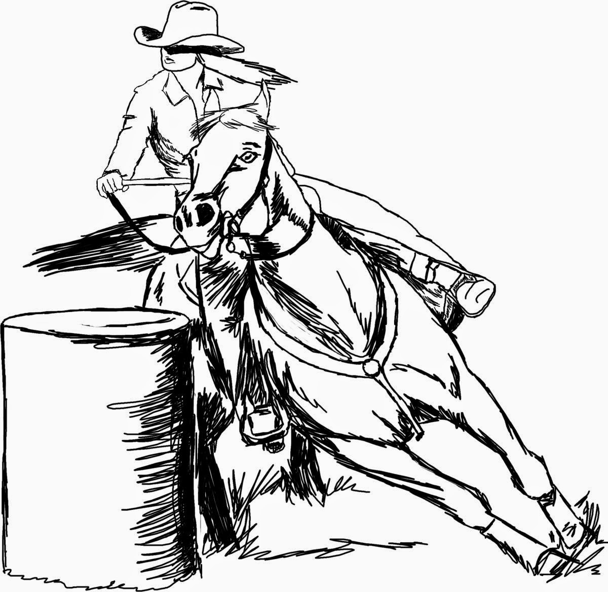 Barrel Racing Horse Coloring Pages Sketch Coloring Page
