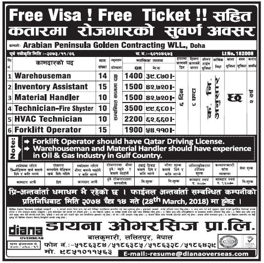 Free Visa Free Ticket Jobs in Qatar for Nepali