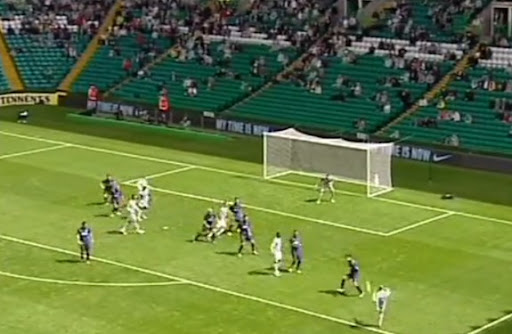 Celtic midfielder Kris Commons shoots to score a wonder goal against Inter Milan