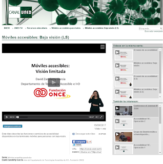 video en canal uned de moviles accesibles: baja vision