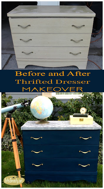 before and after handsome blue thrifted dresser painted makeover geometric stencil brass hardware