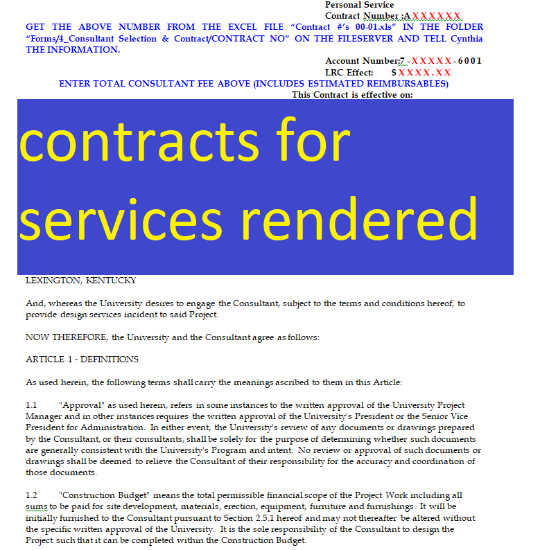 Free Contracts For Services Rendered Doc And Pdf Format