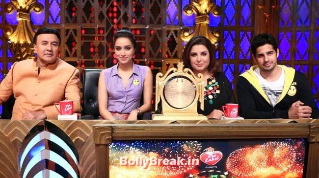 Anu Malik, Shraddha Kapoor, Farah Khan and Sidharth Malhotra, Shraddha, Sidharth promote Ek Villain on Entertainment Ke Liye Kuch Bhi Karega