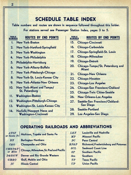 Amtrak first timetable 1971 - index