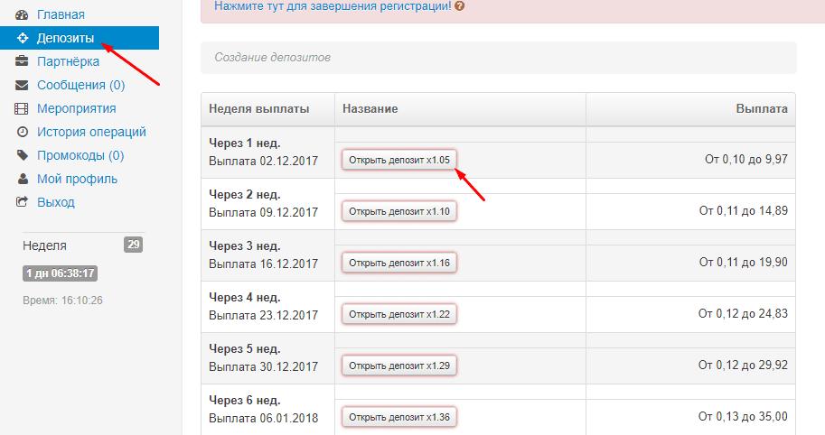 Создание депозита в WiseDeposit
