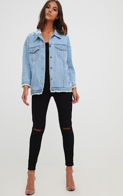 AYMELINE LIGHT WASH DISTRESSED OVERSIZED DENIM JACKET