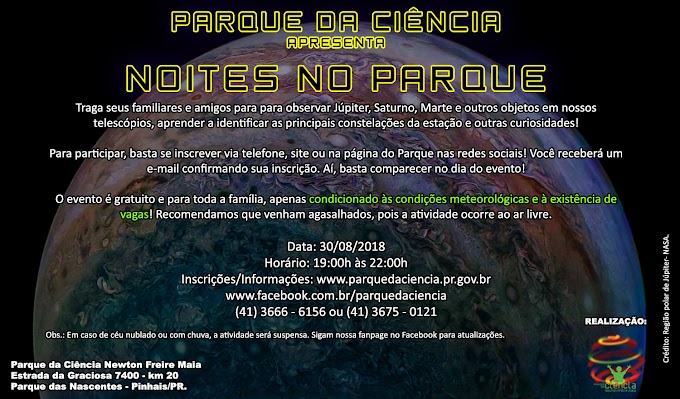 QUINTA-FEIRA (30/08) TEM NOITES NO PARQUE!
