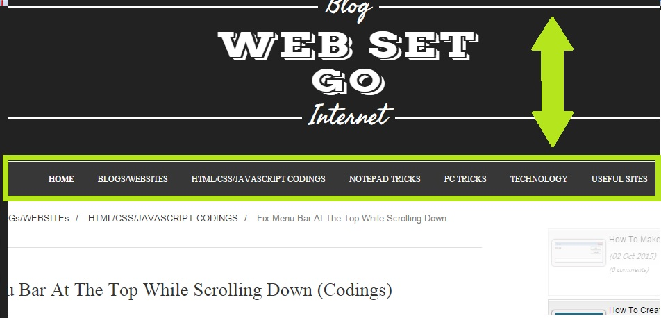 Fix Menu Bar At The Top While Scrolling Down (Codings) - WEB