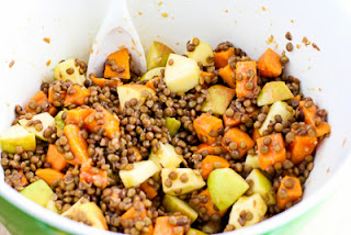 Fruity Lentil Salad with Persimmon, Apple, and Avocado found on KalynsKitchen.com