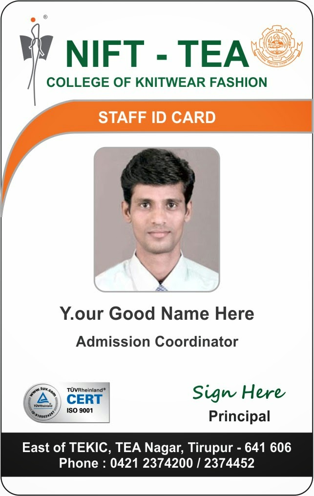 Template galleries new student and staff id card template for Staff id badge template