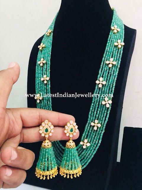 Emerald Beads Matching Jhumkas