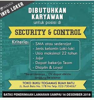 Lowongan Kerja Toko Buku Togamas Bandung 2018