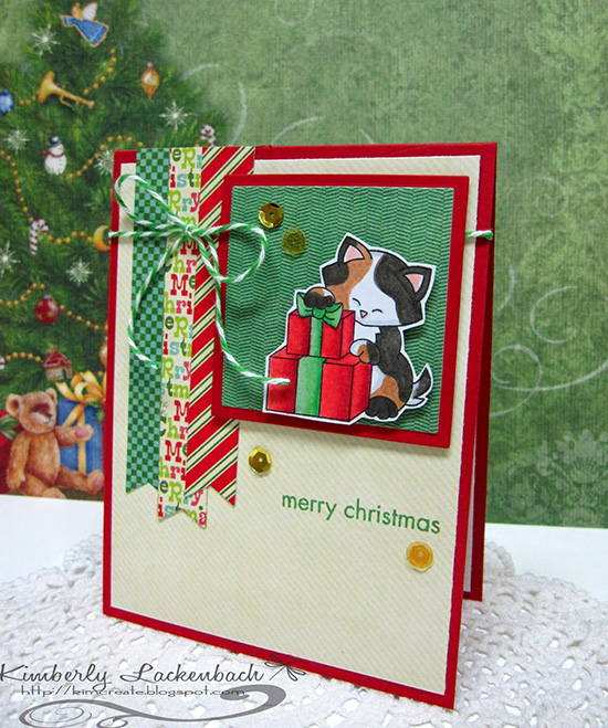 Merry Christmas Cat card by Kim for Inky Paws Challenge #20 | Newton's Birthday Bash stamp set by Newton's Nook Deisgns