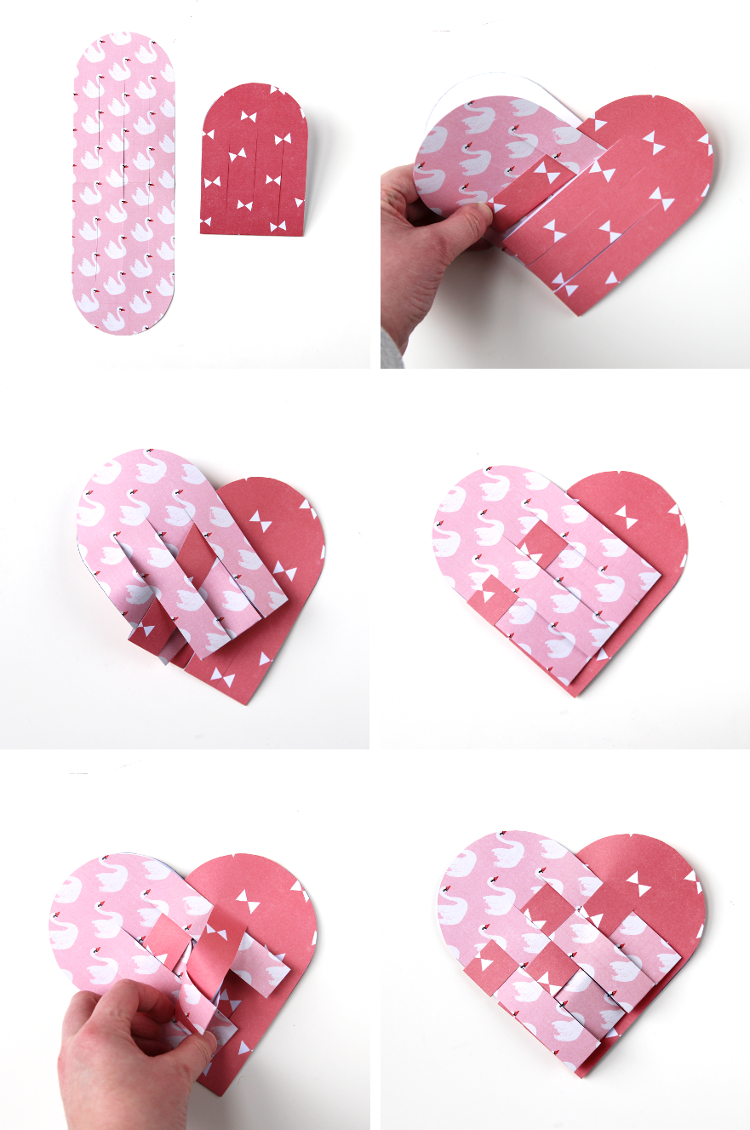 HOW TO MAKE DIY WOVEN PAPER HEART BASKET VALENTINES.