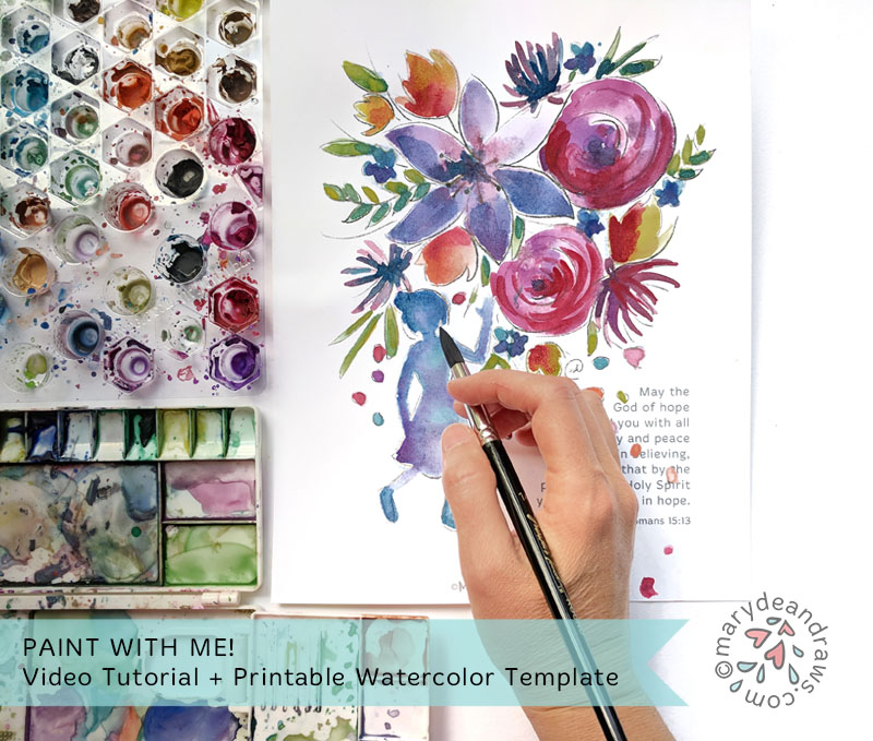 image about Printable Video identified as Watercolor with me! Video clip Guide + Printable Watercolor