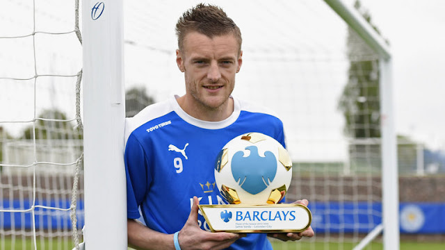 Jamie Vardy has been named Barclays Premier League Player of the Season.