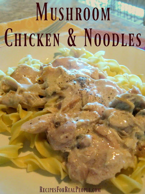 Mushroom Chicken and Noodles, a Slow-Cooker Recipe from RecipesForRealPeople.com